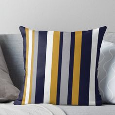 Super soft and durable 100% spun polyester Throw pillow with double-sided print. Cover and filled options. Lovely Stripes in Honey Mustard Yellow, Dark Navy Blue, Grey, and White. Tasteful Minimalist Color Block Design in a beautiful color combination.