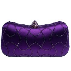 DMIX Minaudiere Crystal Clutch Evening Bag Purple. Each crystal clutch encrusted with quality A grade crystals. Using K gold plating process for our evening bags, each hardware is carefully selected, no scratches, no rust on the surface. Two chains inside (long and short). Each crystal clutch arrives in a bag of extra crystals, and a dust bag along with a gift box. Crystal bag size: 7.7 (L) x 4.3(H) x 1.8 (W) inches.
