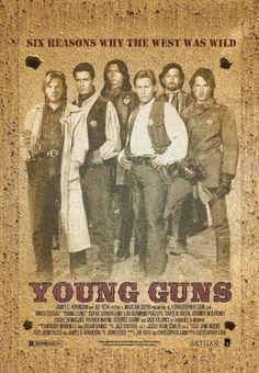 Young Guns con Emilio Estevez, Charlie Sheen, Kiefer Sutherland, Lou Diamond Phillips, Dermot Mulroney y Casey Siemaszko. Emilio Estevez, Charlie Sheen, Young Guns, 80s Movies, Great Movies, Childhood Movies, Awesome Movies, Love Movie, Movie Tv