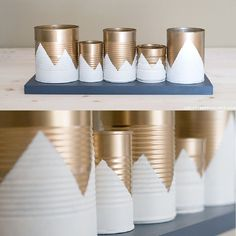DIY recup : Des boites de conserves transformées en pots au motif montagne pour une ambiance chaleureuse     DIY upcycling : Canned cans transformed into pots with a mountain motif for a warm atmosphere