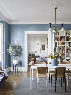 A Scandinavian Apartment Decorated in Blue and Grey Tones Blue tone paint for Mom's room. The Nordroom – A Scandinavian Apartment Decorated in Blue and Grey Tones Small Living Room, Apartment Interior, Blue Living Room, Scandinavian Apartment, Interior Design, Apartment Decor, Apartment Design, Living Room Grey, Apartment Interior Design