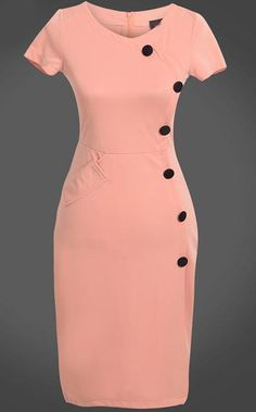To find out about the Pink Short Sleeve Slim Buttons Bodycon Dress at SHEIN, part of our latest Dresses ready to shop online today! Elegant Dresses, Vintage Dresses, Casual Dresses, Short Dresses, Classy Work Outfits, Classy Dress, Official Dresses, Office Dresses For Women, Latest African Fashion Dresses