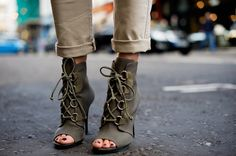 Olive green open toe booties, shoes