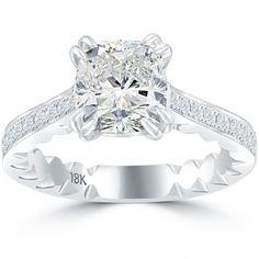 2.41 Carat F-SI3 Cushion Cut Natural Diamond Engagement Ring 18k White Gold - Thumbnail 1