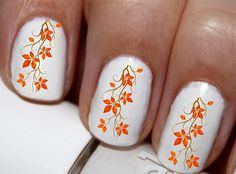 20 pc Fall Leaves Tree Orange Leaves Happy Harest Fall Season Fall Leaves Nail Art Nail Decals #cg102na