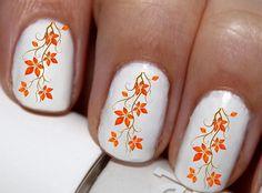 20 pc Fall Leaves Tree Orange Leaves Happy Harest Fall Season Fall Leaves Nail Art Nail Decals #cg102na