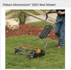 """Fiskars Momentum Reel Mower I love Fiskars' products. They offer anything from craft scissors to this cool reel mower. I do not have much grass to cut, and I don't like the noisy, stinky gas lawn mowers. They do a great job, but I would prefer this manual mower or an electric one. Saving on my bills, and doing another small part to be """"greener"""". In this case """"being green"""" IS easy. :-)"""