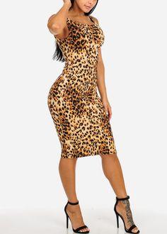 b91898deb39 Black and Blue Cheetah Print Sleeveless Stretchy Midi Dress