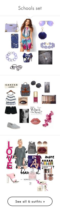 """""""Schools set"""" by monrealgmarilyn ❤ liked on Polyvore featuring Kiss The Sky, Ray-Ban, Ted Baker, New Directions, Versace, BaubleBar, Maiko Nagayama, TOMS, Frame Denim and Madden Girl"""