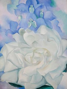 Hand painted reproduction of the painting White Rose with Larkspur No 2 1927 by Georgia O Keeffe. Commission your beautiful hand painted reproduction of White Rose with Larkspur No 2 Art Prints, O Keeffe Paintings, Fine Art, Museum Of Fine Arts, Georgia Okeefe, Painting, Artwork, Abstract, American Artists