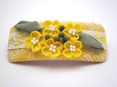 Yellow flower Nanohana Hair Barrette, FRENCH BARRETTE, Kanzashi flower, Cottage chic,  Fabric flower, Hair clip, Gift Ideas, OOAK