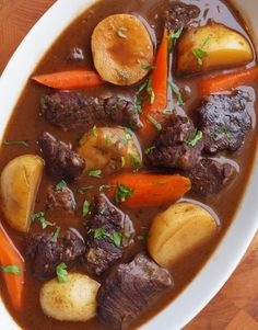 Beef Stew with Carrots and Potatoes (I altered this recipe a bit to make it much healthier, but used it as a foundation for what I made)