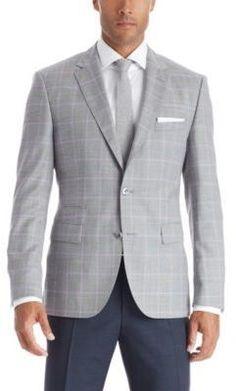 $416, Hugo Boss Johnston Regular Fit Wool Plaid Sport Coat 40r Grey. Sold by Hugo Boss. Click for more info: https://lookastic.com/men/shop_items/356366/redirect