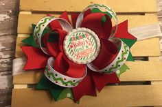 Baby's First Christmas Hair Bow  First by PinkHairBowBoutique