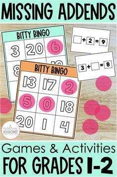 Math Practice Worksheets, 1st Grade Worksheets, Math Resources, Second Grade Teacher, First Grade Teachers, Activity Games, Math Games, Student Numbers, Math Poster