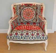 Wing chair: Little green notebook Funky Furniture, Vintage Furniture, Painted Furniture, Suzani Fabric, Tent Fabric, Chair Fabric, Chair Upholstery, Take A Seat, Upholstered Furniture