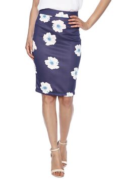 Fitted floral navy pencil skirt with zipper closure.   Floral Pencil Skirt by FewModa. Clothing - Skirts - Pencil Illinois