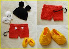 Conjunto Mickey crochê Newborn