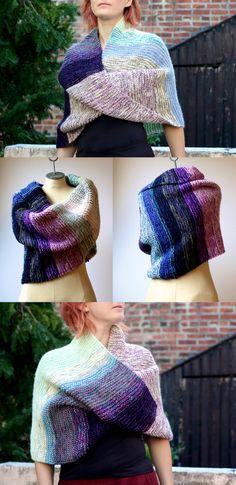 ed74fb5e970 Items similar to The Twilight Shawl ~ Hand Knit Merino Wool Silk Cotton  Infinity Wrap Oversized Cowl Women s Fashion Multicolor Stripe Cream Blue  Purple ...
