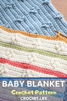 This easy free crochet blanket pattern is so cool--perfect for a beginner crochet project or an intermediate or even advanced, because you can make it more complex and fun! Crochet Blanket Patterns, Baby Blanket Crochet, Baby Patterns, Crochet Stitches, Crochet Hooks, Free Crochet, Knit Crochet, Crochet Afghans, Beginner Crochet Projects