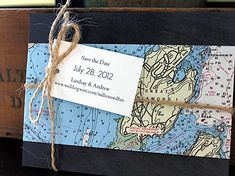 Nautical map save the date  www.hobartandhaven.com