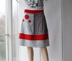 Knit cotton skirt in red black and grey by ThongbaiTatong on Etsy, $65.00