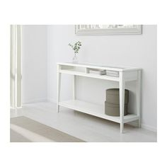 LIATORP Console table, white, glass white/glass 52 3/8x14 5/8