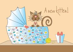 Congratulations on your new kitten with floral bassinette card. Cards are shipped the Next Business Day. Product ID: 1019221 Cat Birthday Wishes, Congratulations Card, Cat Art, Cats And Kittens, Greeting Cards, Pets, Floral, Future, Cat Birthday