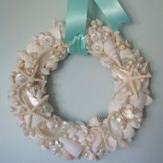 Shell Wreath with White Shells, Starfish and Pearls