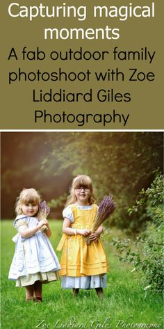 """A photo of Jessica and Sophie wearing vintage-style dresses with pinafores and holding bunches of lavender - """"Capturing magical moments - a fab outdoor family photoshoot with Zoe Liddiard Giles Photography"""""""