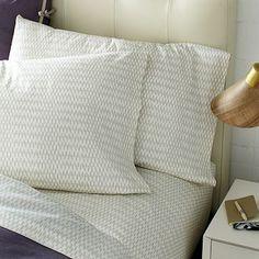 Organic Ikat-Stripe Sheet Set #westelm  If duvet cover is plain sheets should have pattern, platinum.