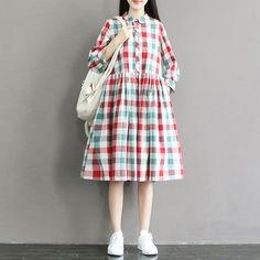 Women grid summer cotton loose dress