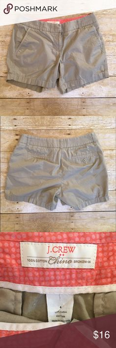 Tan J.Crew Chino broken-in shorts, size 4 Very good condition J.Crew Chino broke-in tan shorts in a size 4. This pretty dark tan goes great with any color top! Inseam- 4 inches, rise- 8 inches, waist- 14 inches. J. Crew Shorts