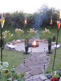 Outdoor, Perfect Torches With Flagstone Walkway For Inexpensive Patio Ideas On A Budget With Metal Fire Pit: Frugal Patio Ideas with Fire Pit on a Budget by Savka Metal Fire Pit, Cool Fire Pits, Diy Fire Pit, Fire Pit Backyard, Backyard Patio, Backyard Landscaping, Landscaping Ideas, Backyard Playground, Diy Patio