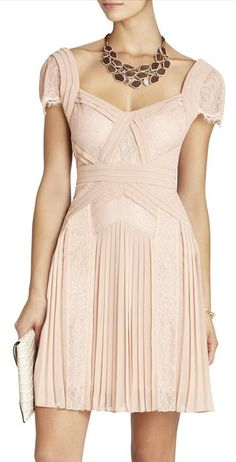 Blush pleated dress...with less chunky necklace.  I hate it when I see a pin and I want to buy it...and its not available
