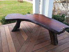 Wood bench.