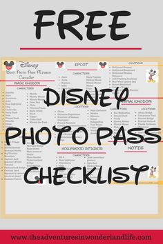 Ready to make the Most of Your Memory Maker? The Photo Pass Checklist Breaks dow… Ready to make the Most of Your Memory Maker? The Photo Pass Checklist Breaks down each park so that you don't miss your favorite character or photo ops! Disney World Tips And Tricks, Disney Tips, Disney Fun, Disney Travel, Disney Stuff, Disney Cruise, Disney Magic, All Disney Parks, Walt Disney World Vacations