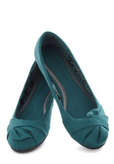 Steal Away Flat - Blue, Solid, Bows, Ruching, Flat - to change in to if the heels start to hurt