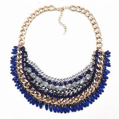 Multilayer  blue statement necklaces & pendants Luxury tassel choker necklace brand crystal necklace for women