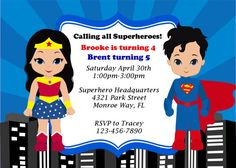 Items similar to DIY -Superman and Wonderwoman/ Boy and Girl Superhero/Joint/ Party Invitations Cards. on Etsy Superman Party, Girl Superhero Party, Wonder Woman Birthday, Wonder Woman Party, Twin Birthday, Boy Birthday Parties, Superman And Superwoman, Happy Birthday Images, Birthday Design