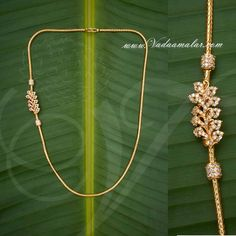 Indian design side pendant for sarees - Gold plated chain with side pendant Mugappu for Sarees - Gold Chain Design, Gold Bangles Design, Gold Earrings Designs, Gold Jewellery Design, Gold Jewelry Simple, Gold Wedding Jewelry, Saris, Gold Mangalsutra Designs, My Collection