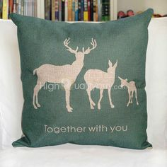 White Elk Printed Green Square Throw Pillow Case Home Decoration