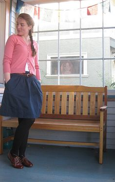 Skirt, cardigan, tights, oxfords