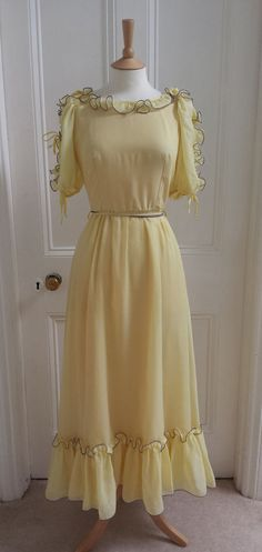 Vintage Original 70s Yellow Chiffon Boho Maxi Dress Bohemian Hippie Peasant 12