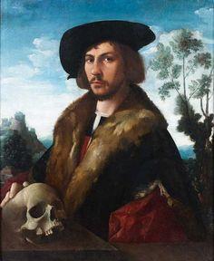 Attribué à Dirck JACOBSZ (Entre 1496 et 1500-1567) Portrait d'homme en buste la main posée sur un crâne devant un paysage Toile 81 × 66 cm