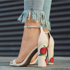 Blush heels with rose