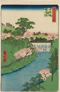 """Dam on the Otonashi River at Öji, known as """"The Great Waterfall"""", by Hiroshige…"""