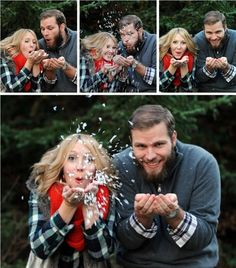 Winter wedding engagement photos. Could be cute as a gender reveal photo as well
