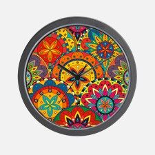 Funky Retro Pattern Wall Clock for