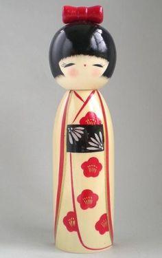 Cream, red and black Kokeshi Momiji Doll, Kokeshi Dolls, Matryoshka Doll, Japanese Culture, Japanese Art, Japanese Doll, Japanese Things, Asian Doll, Wooden Dolls